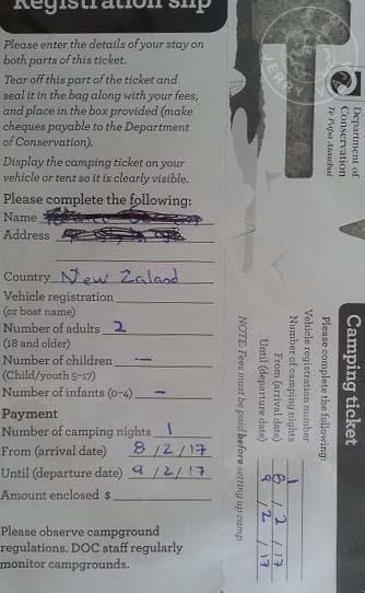 Ticket del camping Cascade Creek