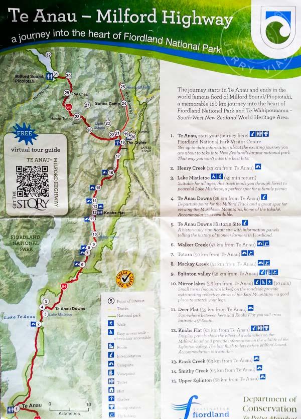 Mapa de ruta de Te Anau a Milford Sound