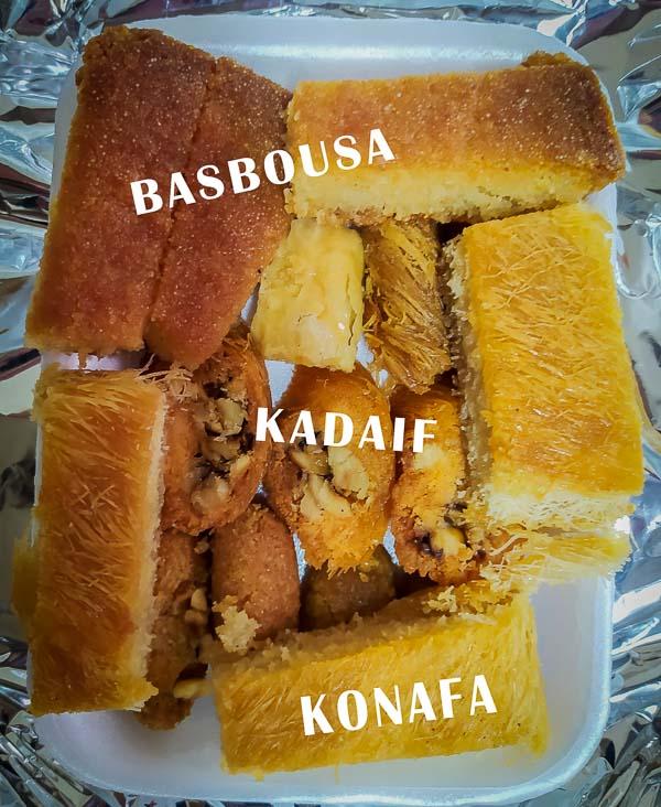 Basbousa, kadaif, konafa