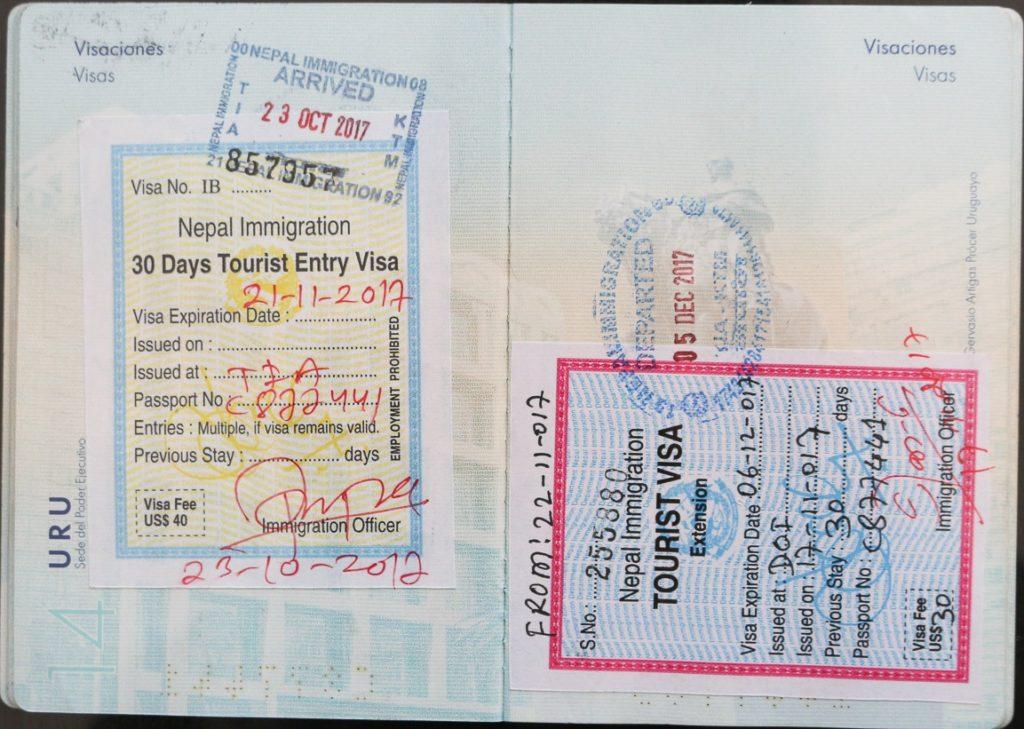 Visa de entrada a Nepal y Extensión de la Visa