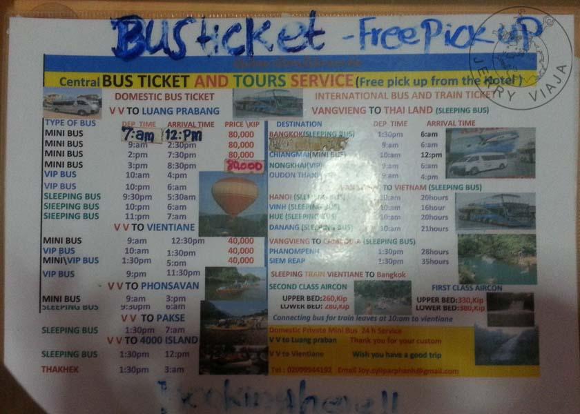 Horario de buses desde Vang Vieng a Luang Prabang, Vientián y otros