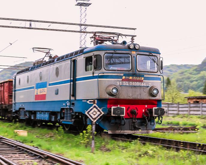Tren en Sighisoara, Rumania