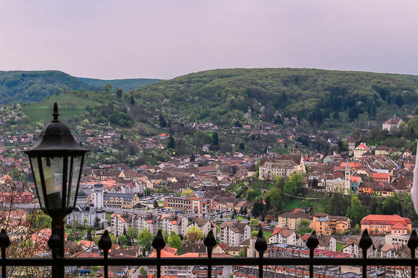 Vistas a Sighisoara desde Villa Franca, Rumania