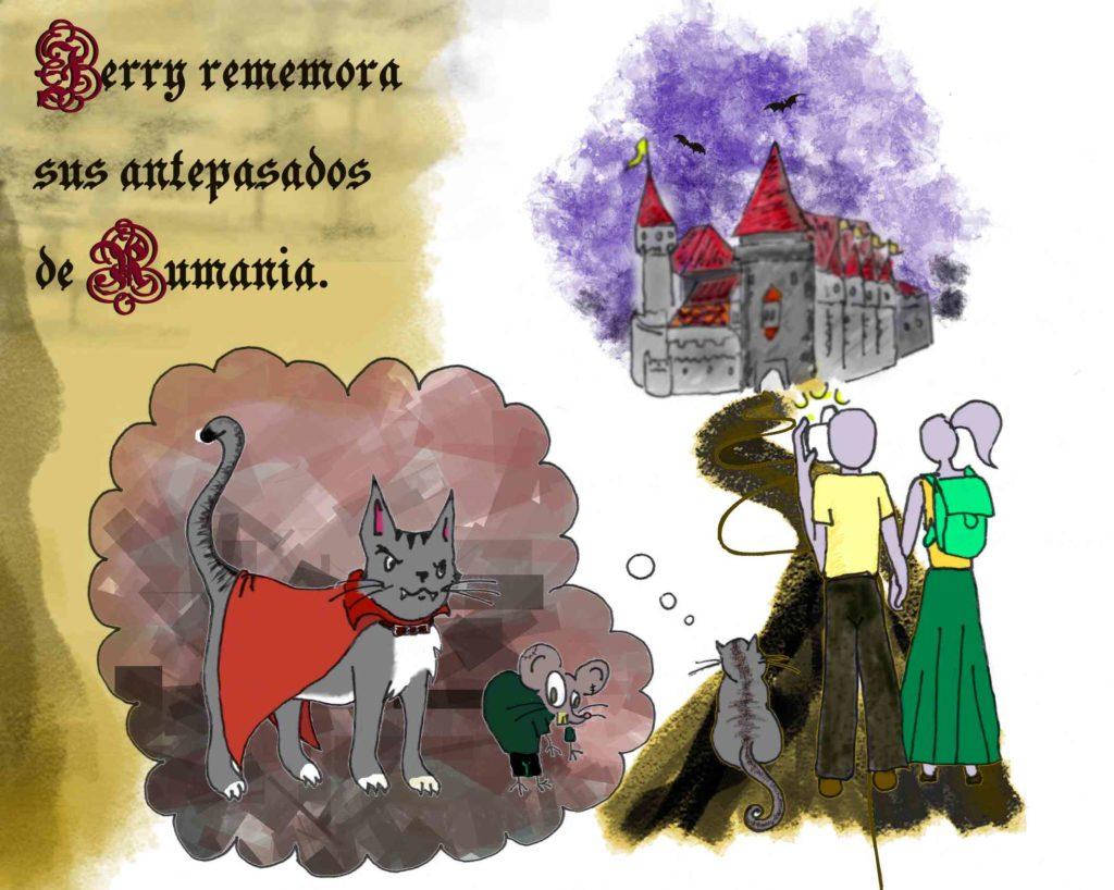 Dibujo de Jerry en Rumania visitando un castillo y recordando su antepasado vampírico