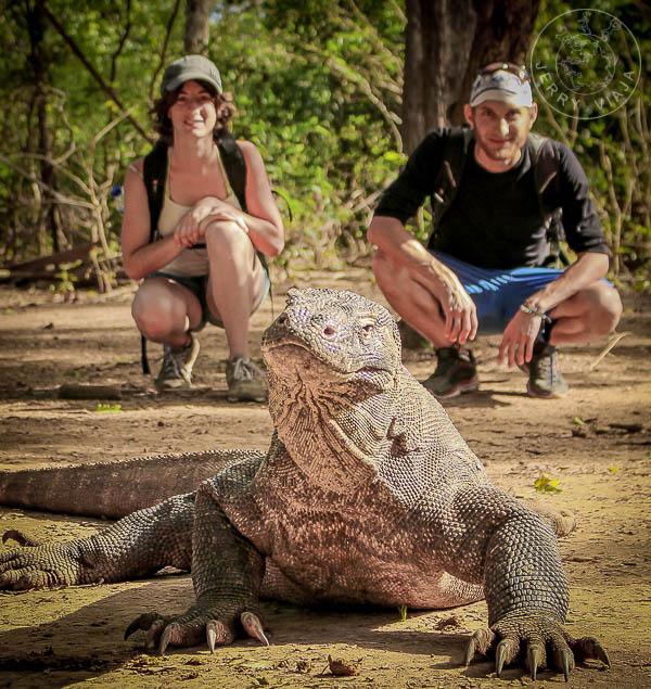 Personas y dragón de Komodo en la Isla Rinca, Indonesia.