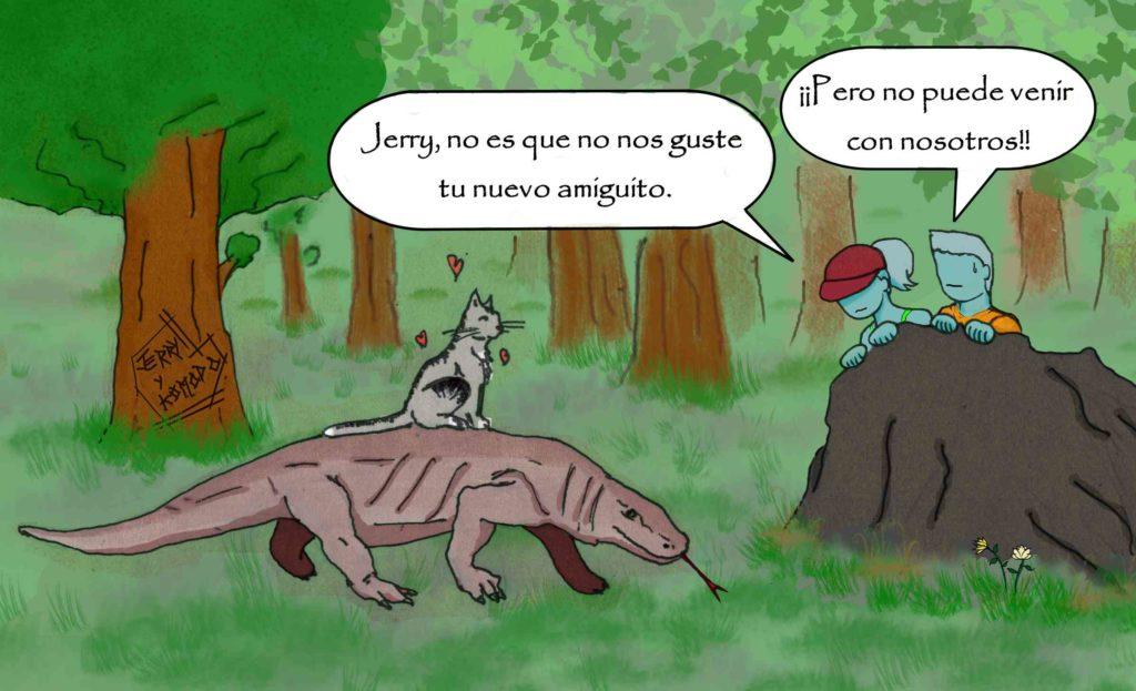 Dibujo del gato Jerry sobre un dragón de Komodo