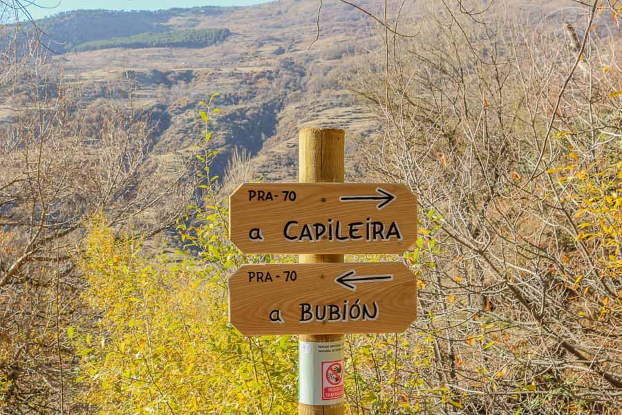 Camino Capileira Bubión en La Alpujarra, España