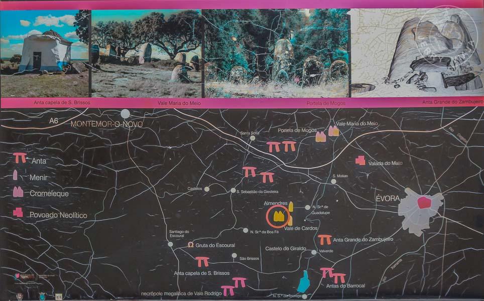 Mapa de los menhires y megalitos por la vuelta