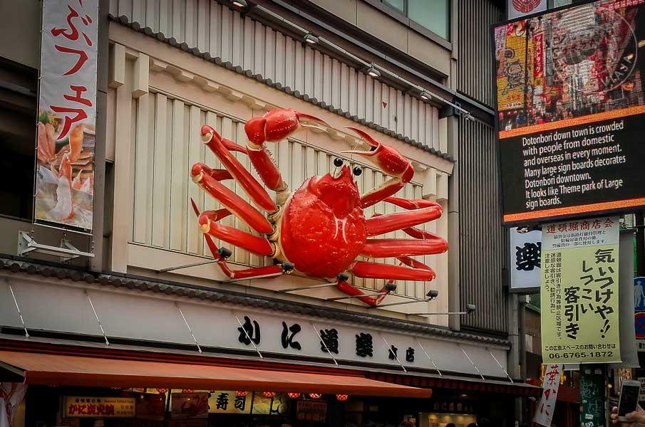 Cangrejo gigante del restaurate Kani Doraku, Osaka, Japón