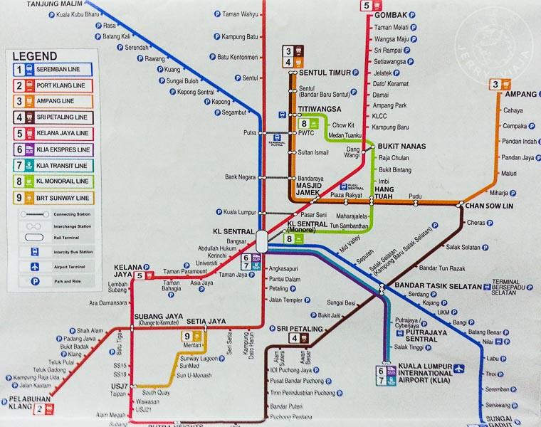 Plano metro y tren de Kuala Lumpur, Malasia
