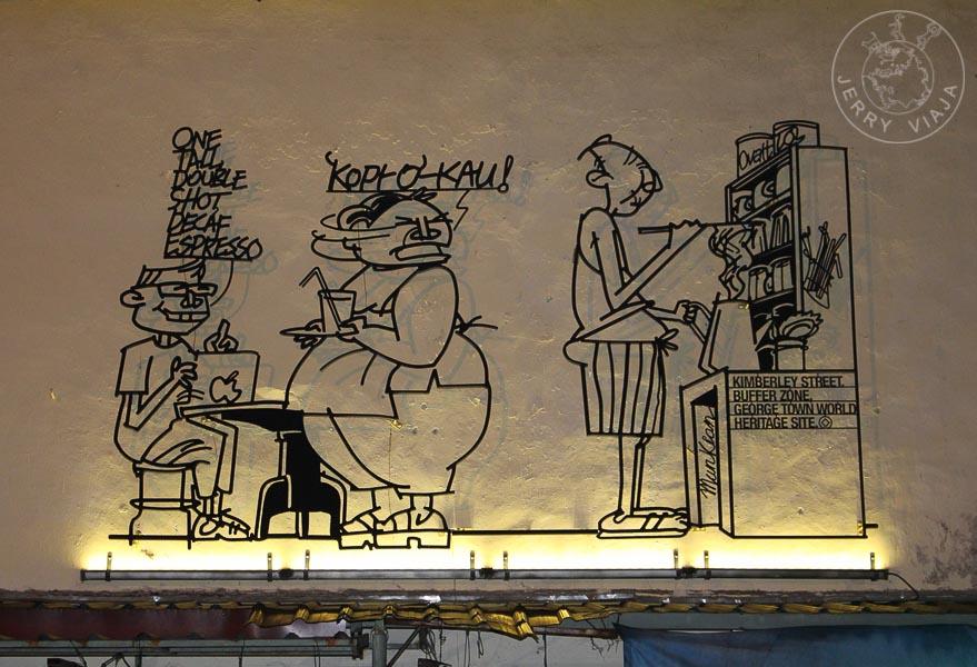 Caricatura en hierro forjado de Tang Mun Kian. Georgetown, Penang, Malasia.